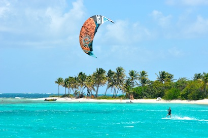 Kitesurfing in the Grenadines on a wonderful day